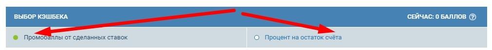 В настройках аккаунта можно выбрать начисление от сделанных ставок или процентом на остаток счёта