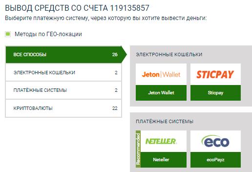 Выбор платежной системы для вывода денег с сайта атстекбет